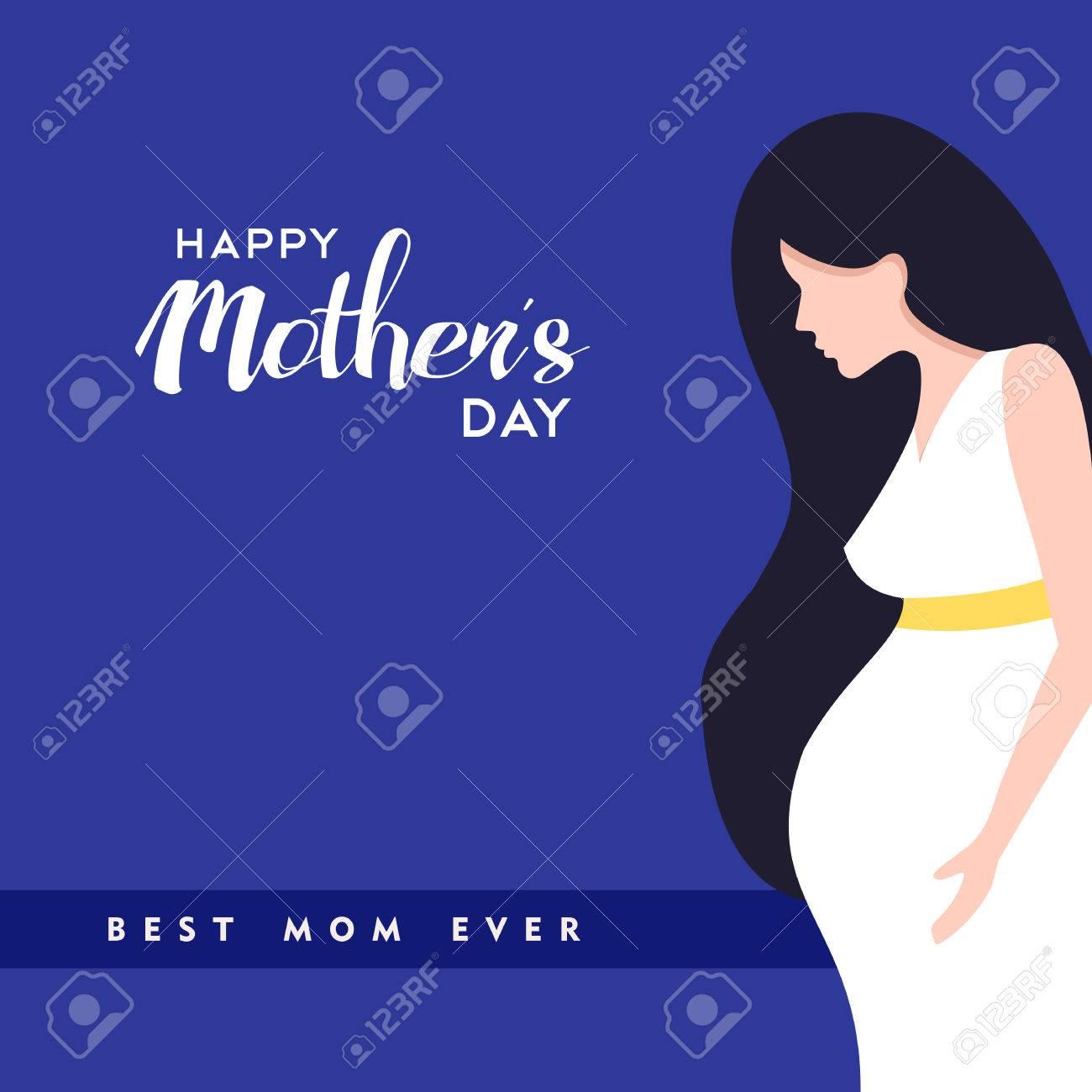 Illustration De La Fête Des Mères Heureux Femme Enceinte Avec Des Citations D Amour Maman Vecteur Eps10