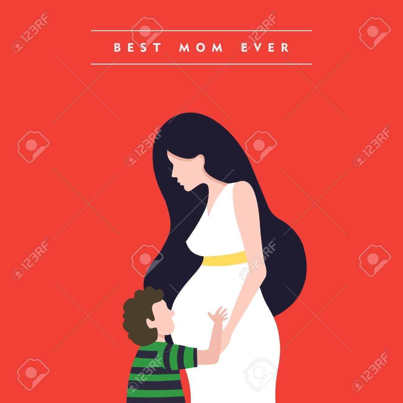 Illustration De La Fête Des Mères Heureux Femme Enceinte Avec Fils Et Maman Amour Citation Vecteur Eps10