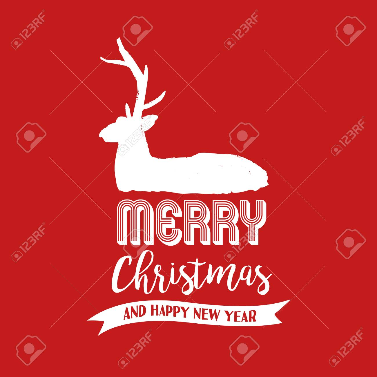 Merry Christmas Reindeer Text Quote, Calligraphy Lettering Design For  Holiday Season. Creative Red Typography