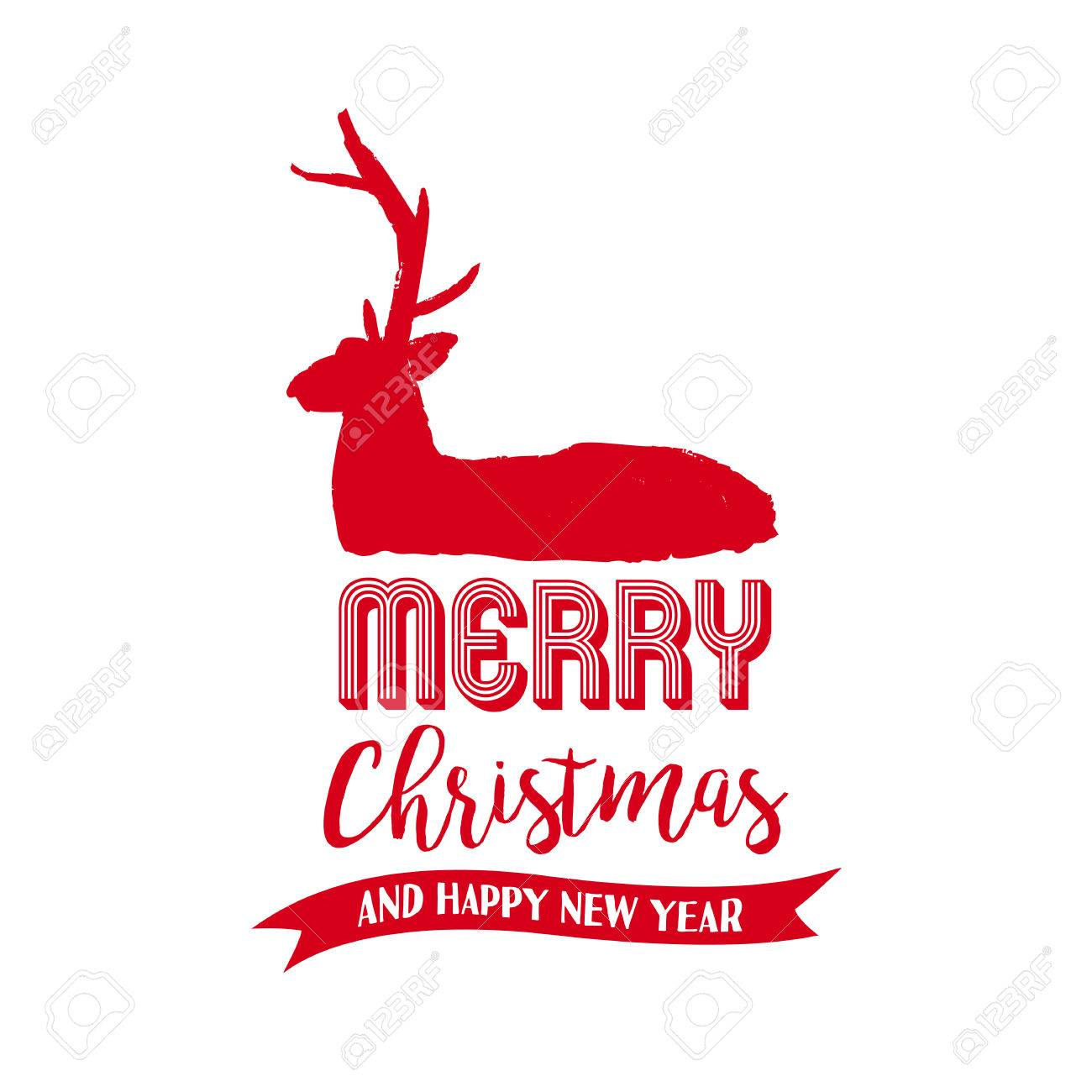 Merry Christmas Deer Text Quote, Calligraphy Lettering Design For Holiday  Season. Creative Red Typography