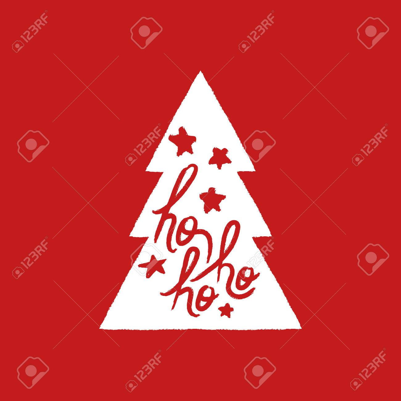 Merry Christmas Pine Tree Text Quote, Calligraphy Lettering Design For  Holiday Season. Creative Red