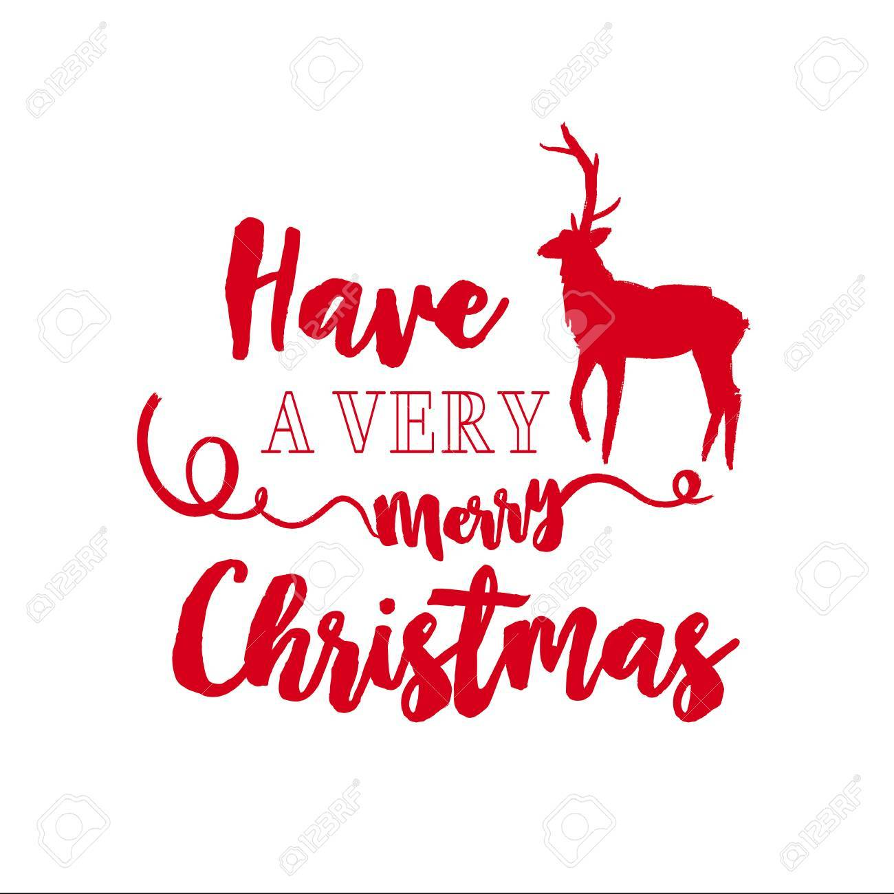 Etonnant Merry Christmas Deer Calligraphy Quote, Lettering Text Design For Holiday  Season. Creative Red Typography