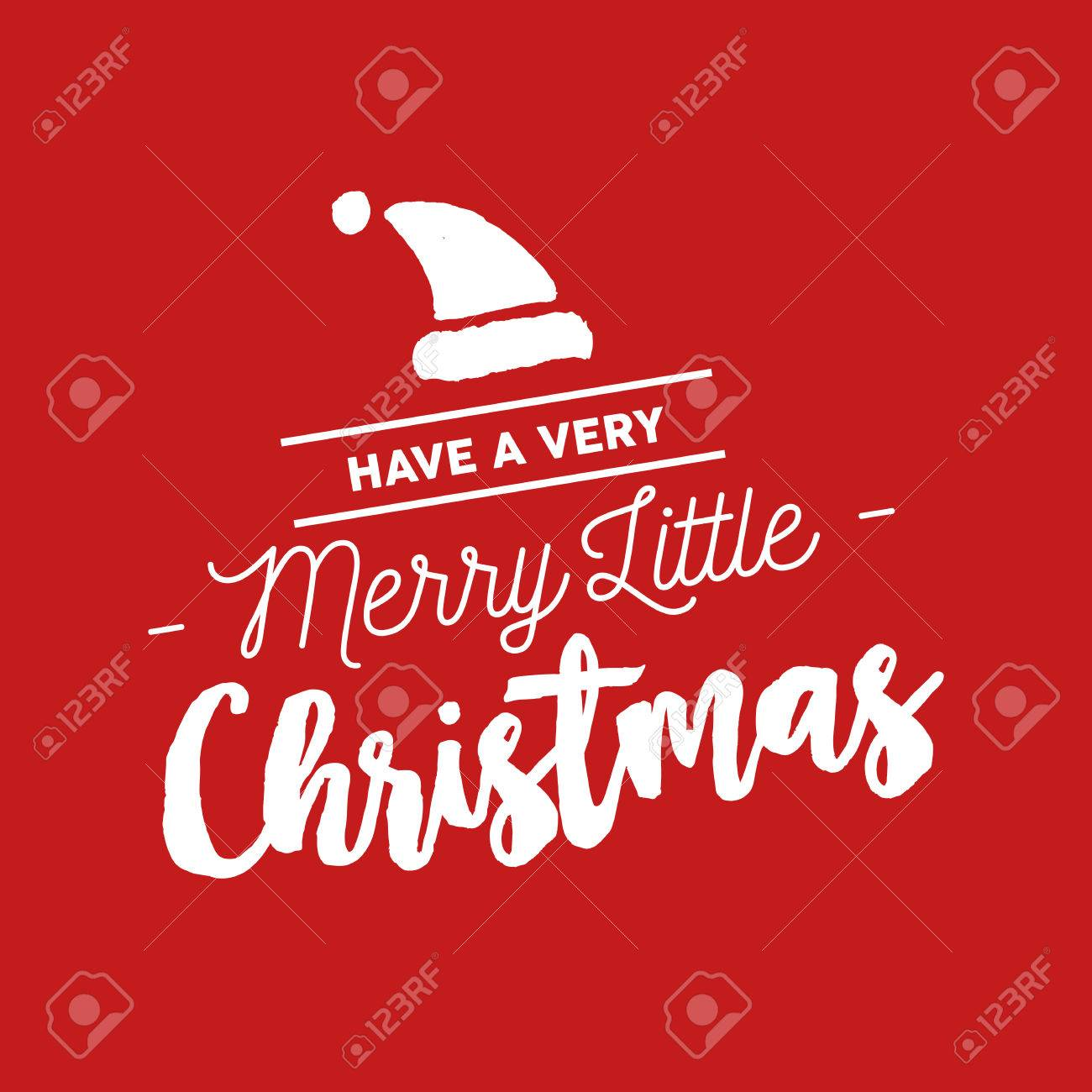 Gentil Merry Christmas Santa Hat Calligraphy Quote, Lettering Text Design For  Holiday Season. Creative Red