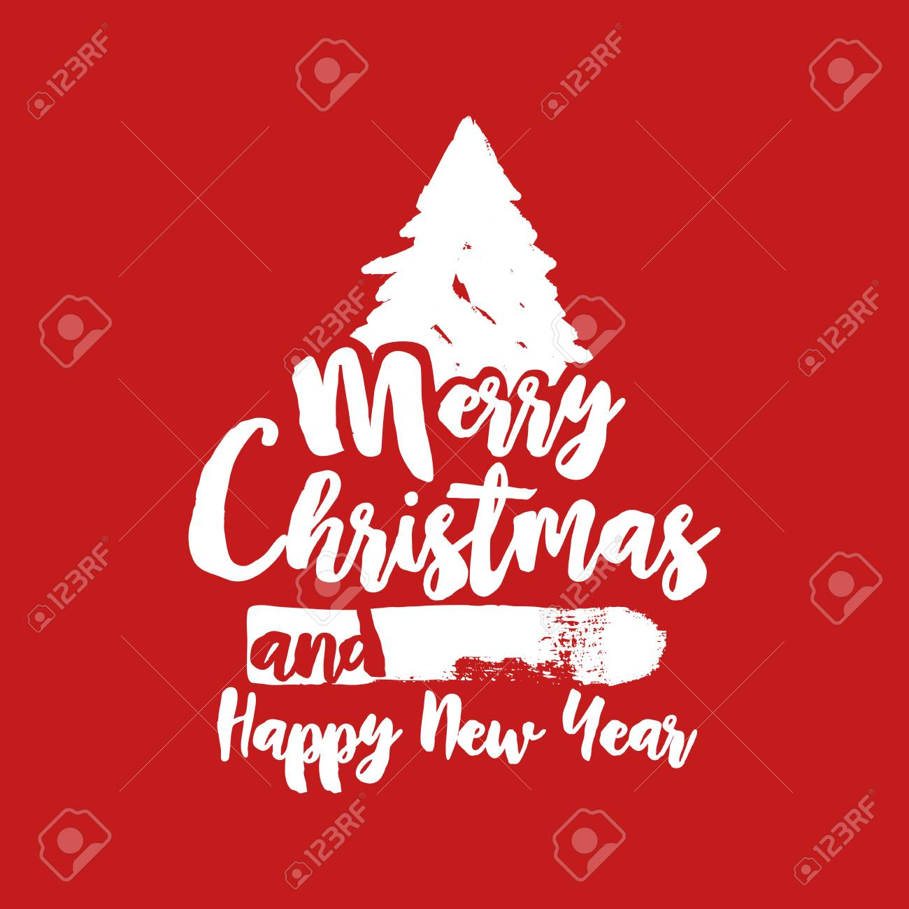Merry Christmas Grunge Tree Text Quote, Calligraphy Lettering Design For  Holiday Season. Creative Red