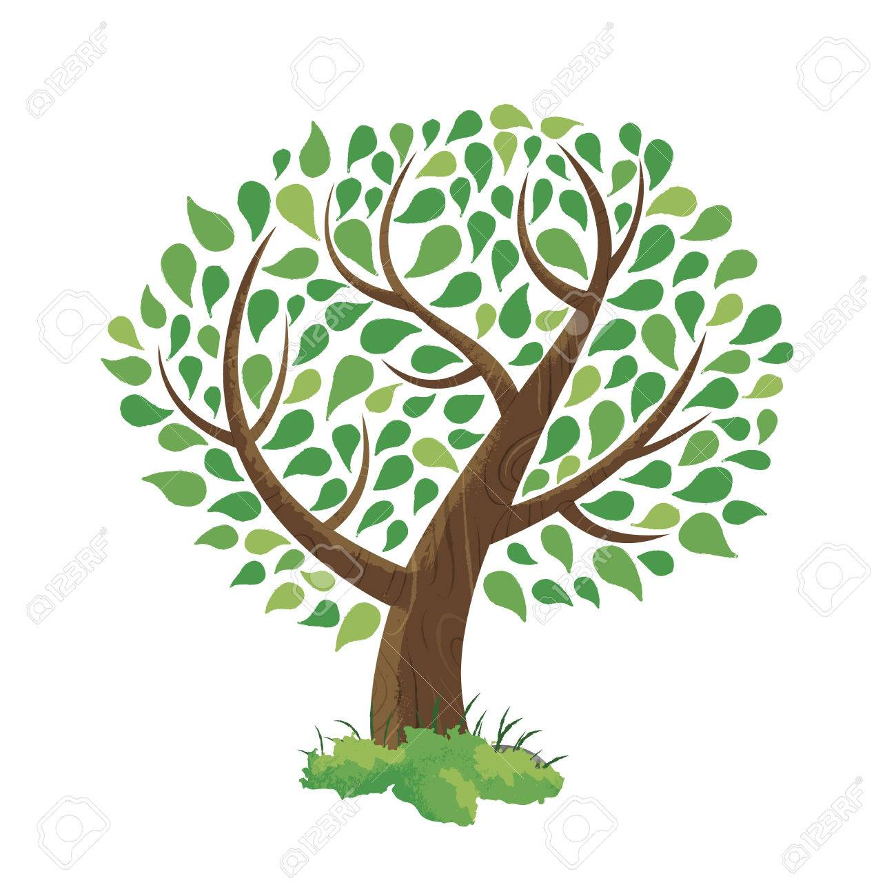 Hand Drawn Tree Made Of Colorful Green Leaf Foliage Art. Environment ...