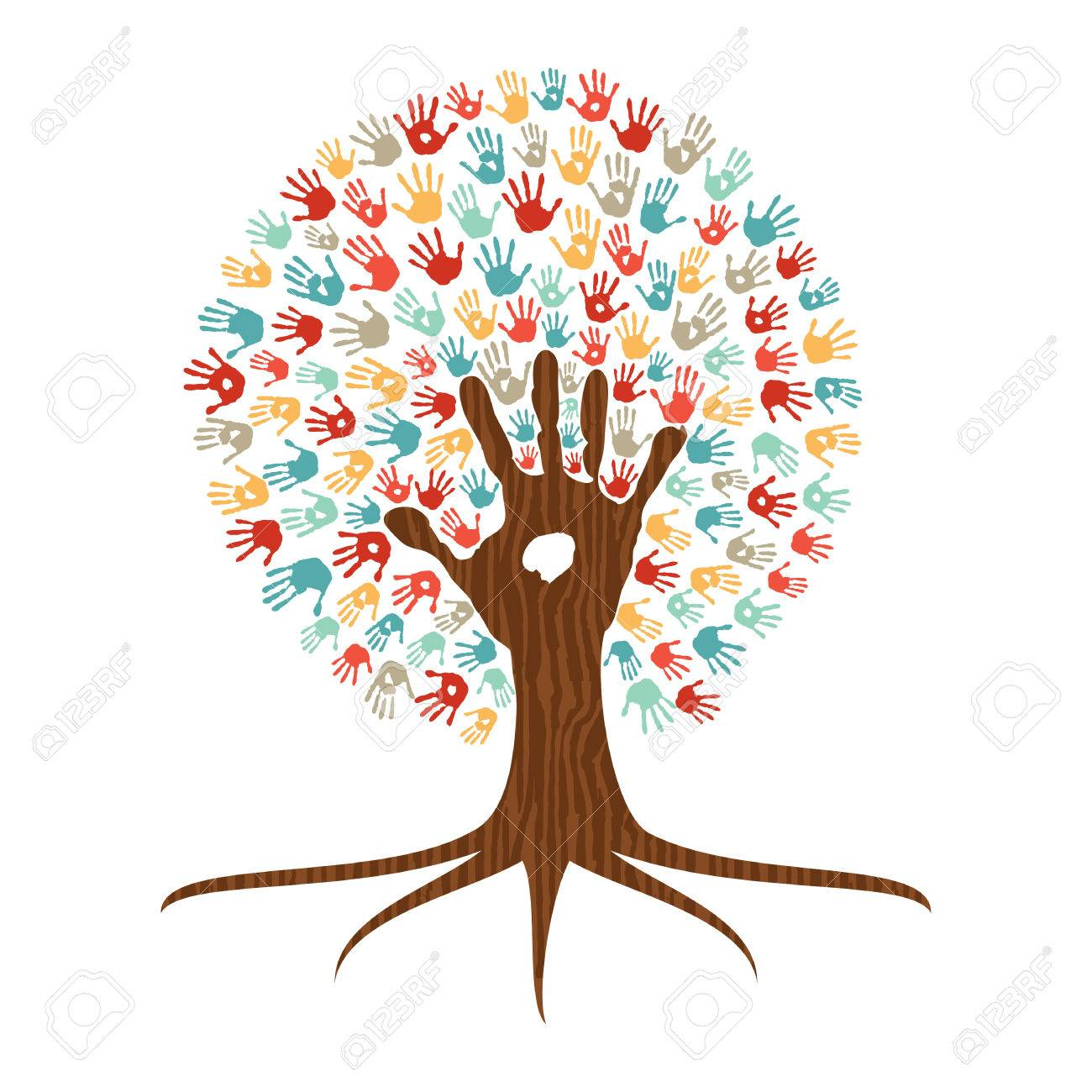 Human handprint multicolor tree with hands of colorful ethnic