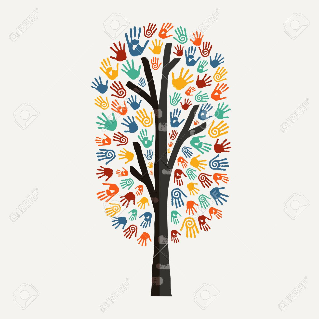 Hand Tree With Colorful Handprint Art Diverse Community Concept Royalty Free Cliparts Vectors And Stock Illustration Image 79420334