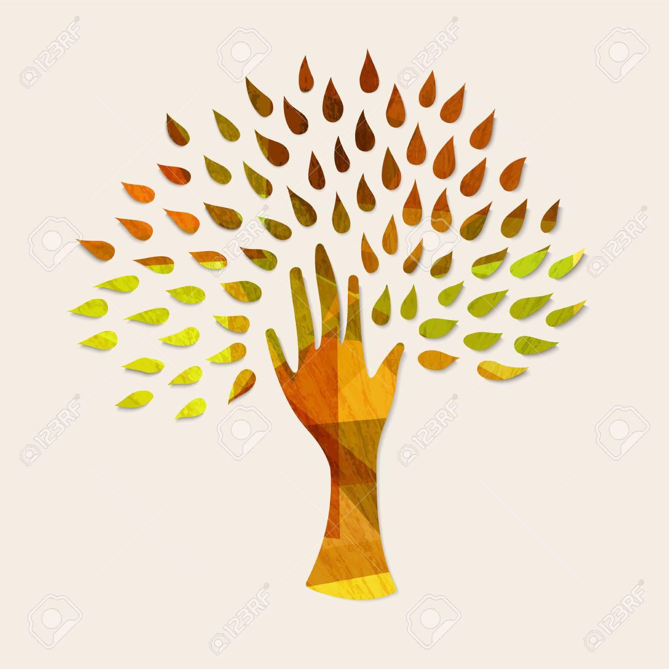 Hand Baum Kunst Mit Holz Textur Und Herbst Blatter Konzept