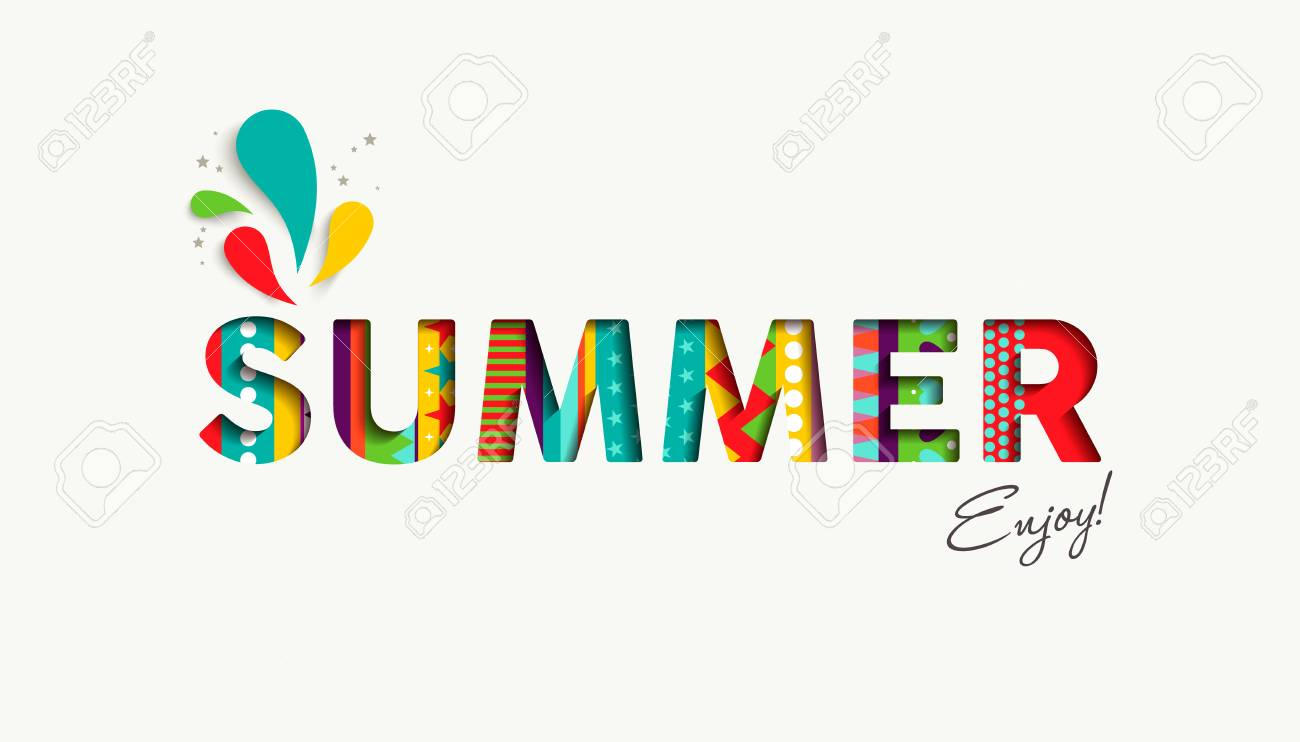 Enjoy Summer Vacation Color Quote For Happy Holiday Season Modern