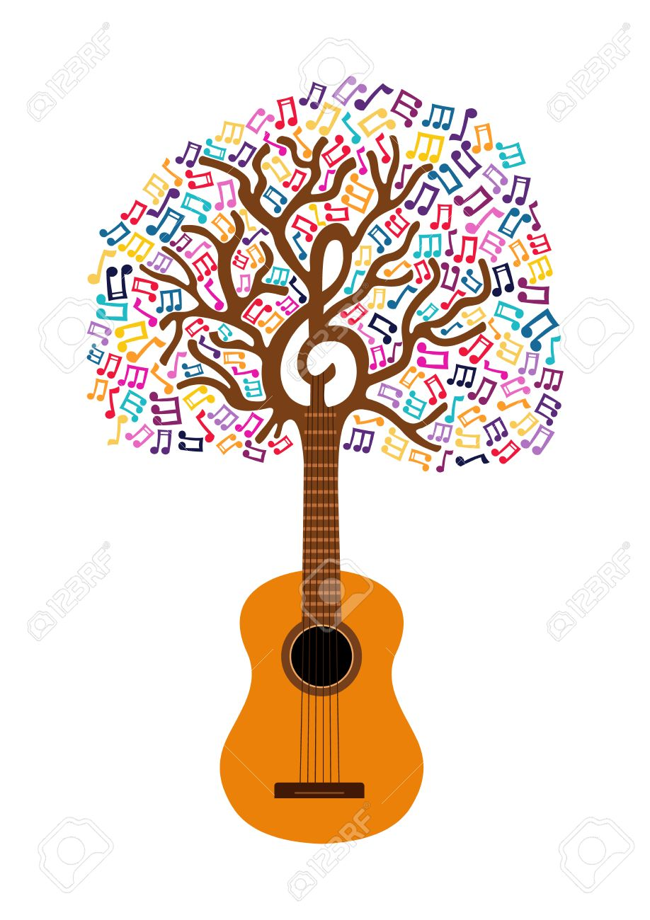 Guitar tree with musical note decoration. Concept illustration for nature help or live music. EPS10 vector. - 80786798