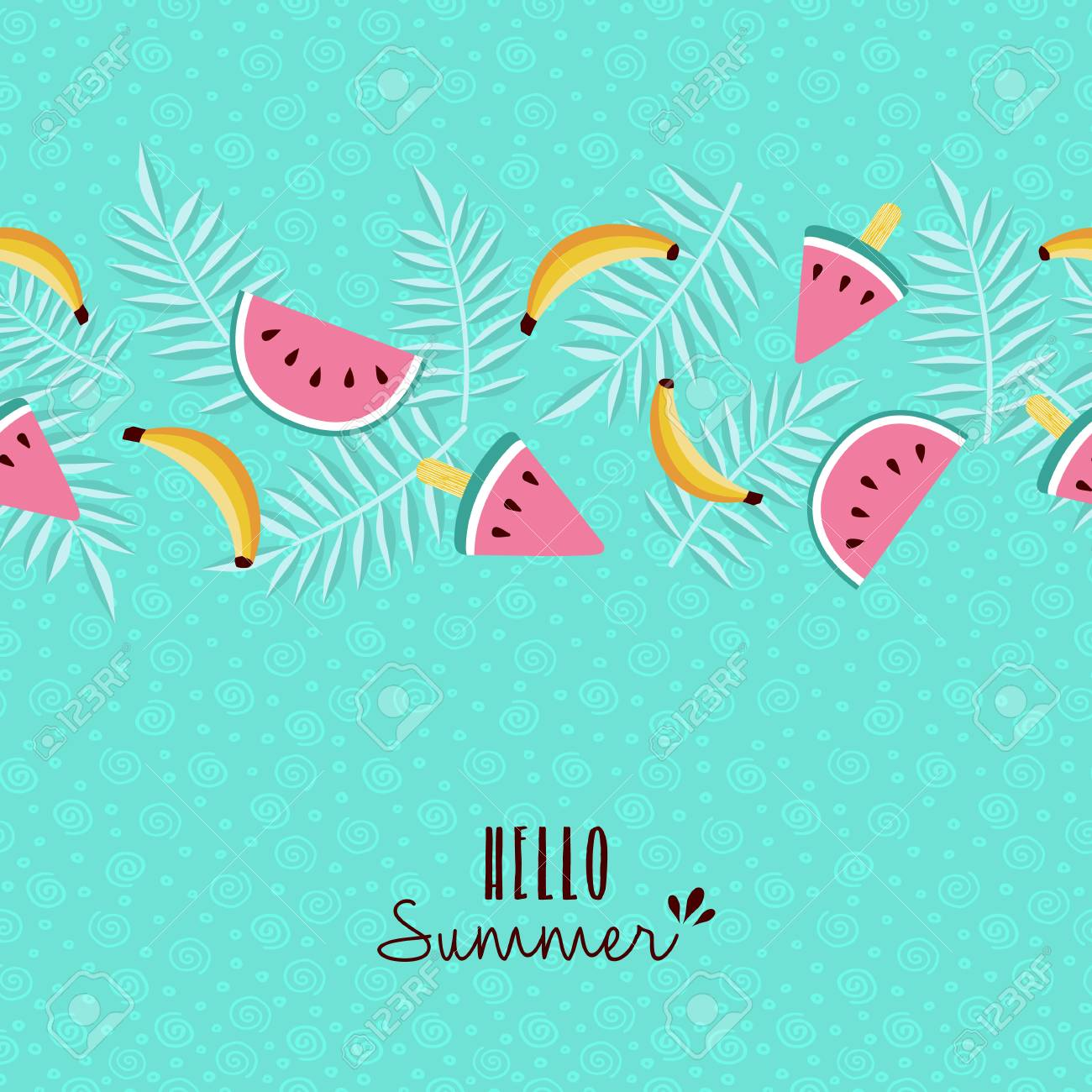 Nice Happy Summer Greeting Card Design With Tropical Seamless Pattern And  Typography Quote. Includes Banana,