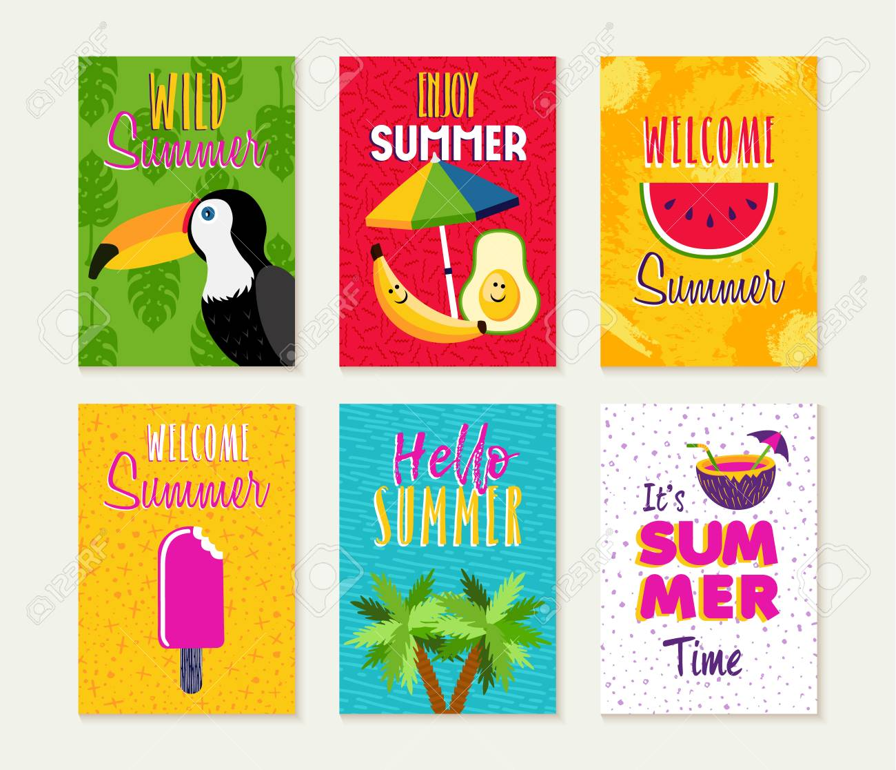 Summer template set, summertime vacation quotes with fun season