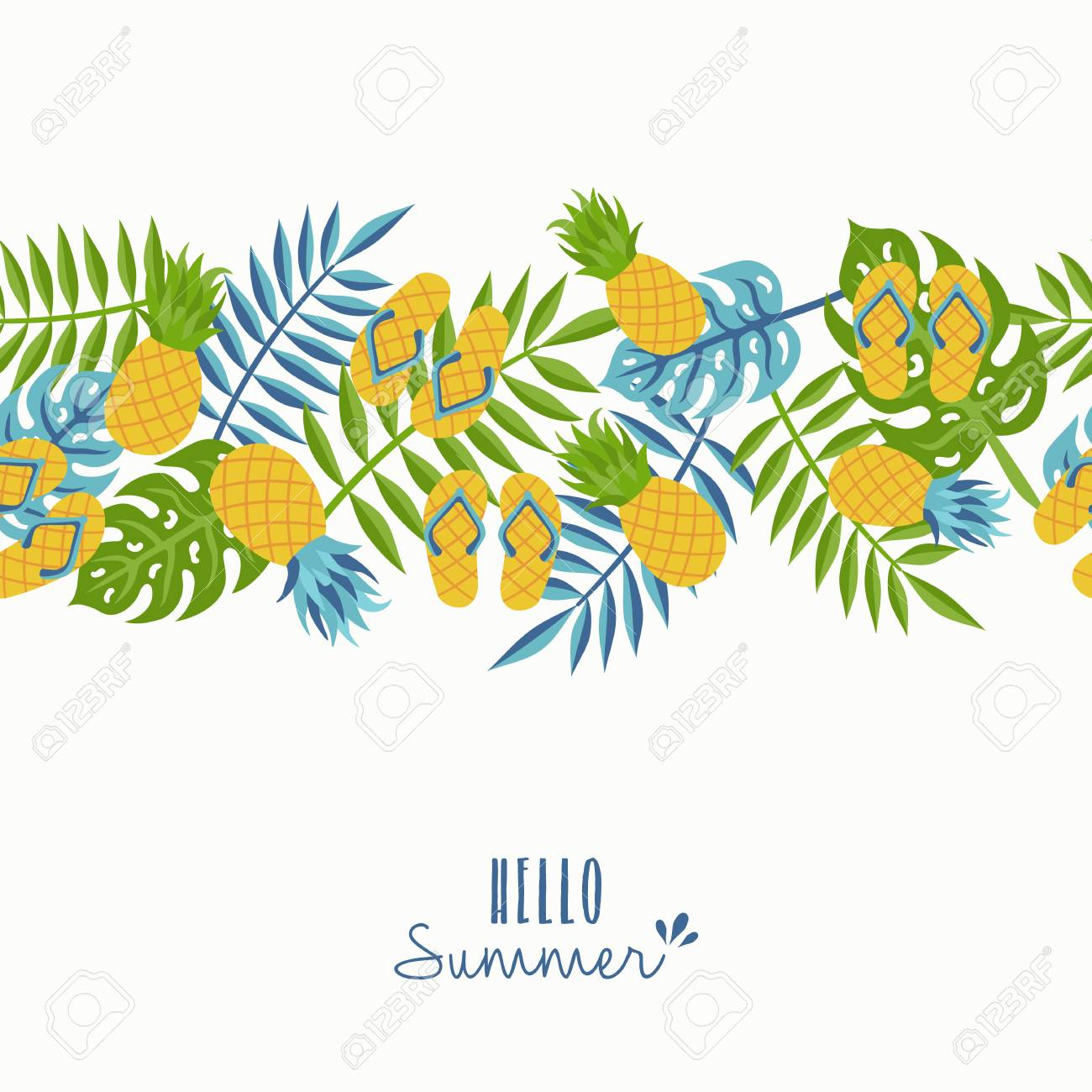 Happy Summer Greeting Card Design With Tropical Seamless Pattern And  Typography Quote. Stock Vector