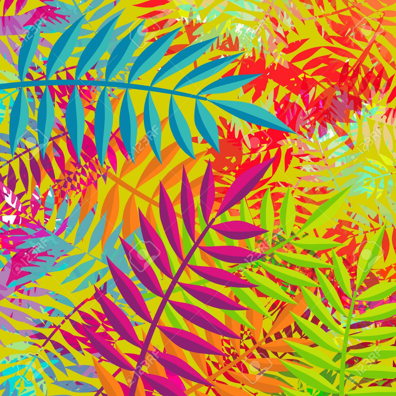 Tropical Summer Background Vibrant Color Palette Art With Jungle