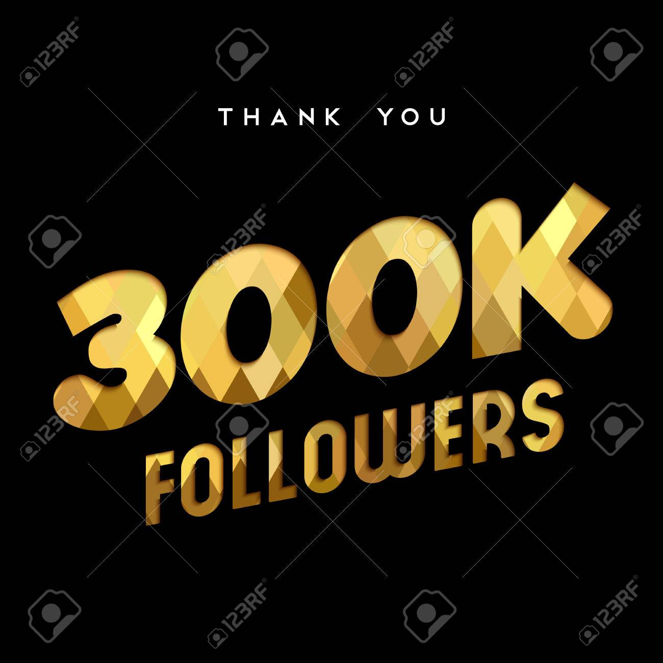 300000 followers thank you gold paper cut number illustration. Special 300k  user goal celebration for