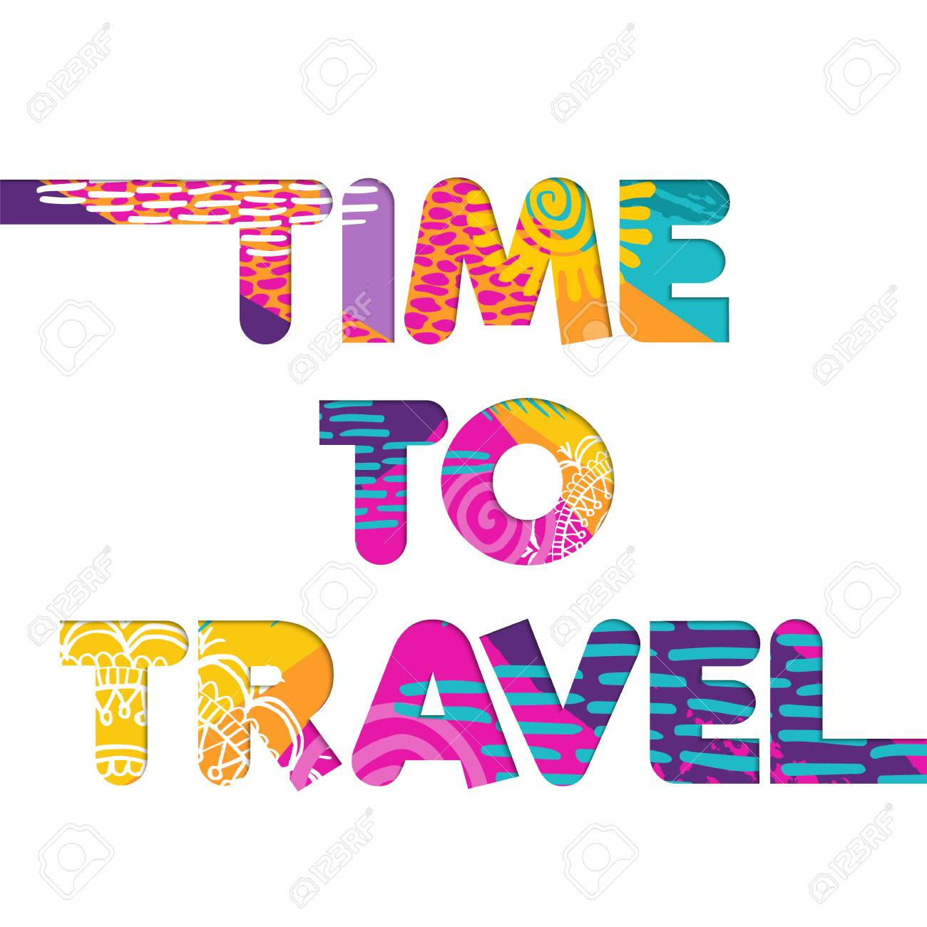 Time To Travel Color Quote Typography Design In 3d Paper Cut