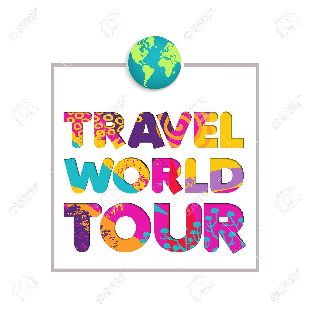 Travel The World Color Quote Typography Design In Paper Cut