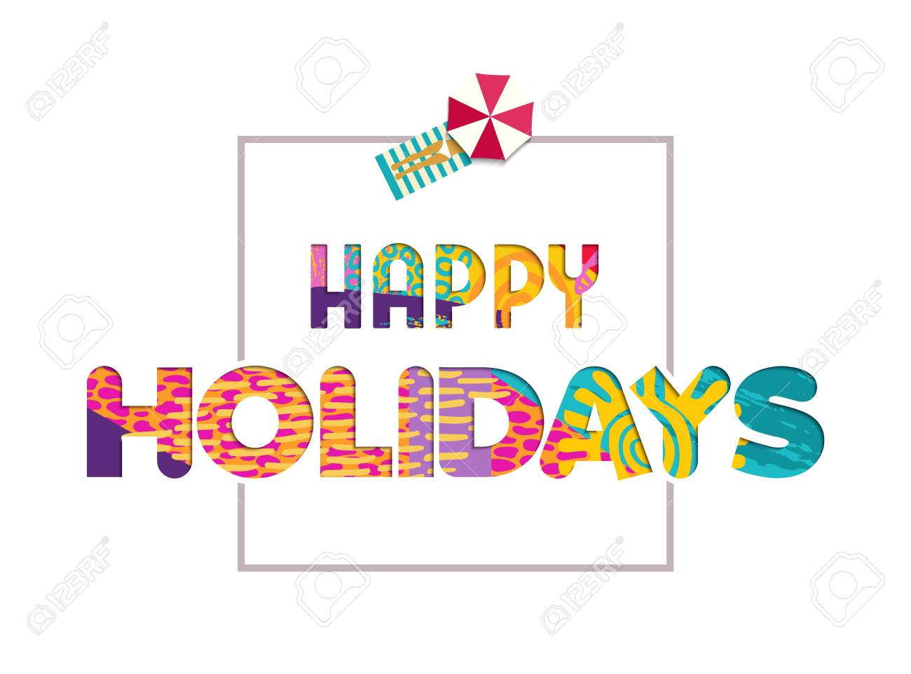 Happy Summer Holidays Color Text Quote In Paper Cut Style Fun