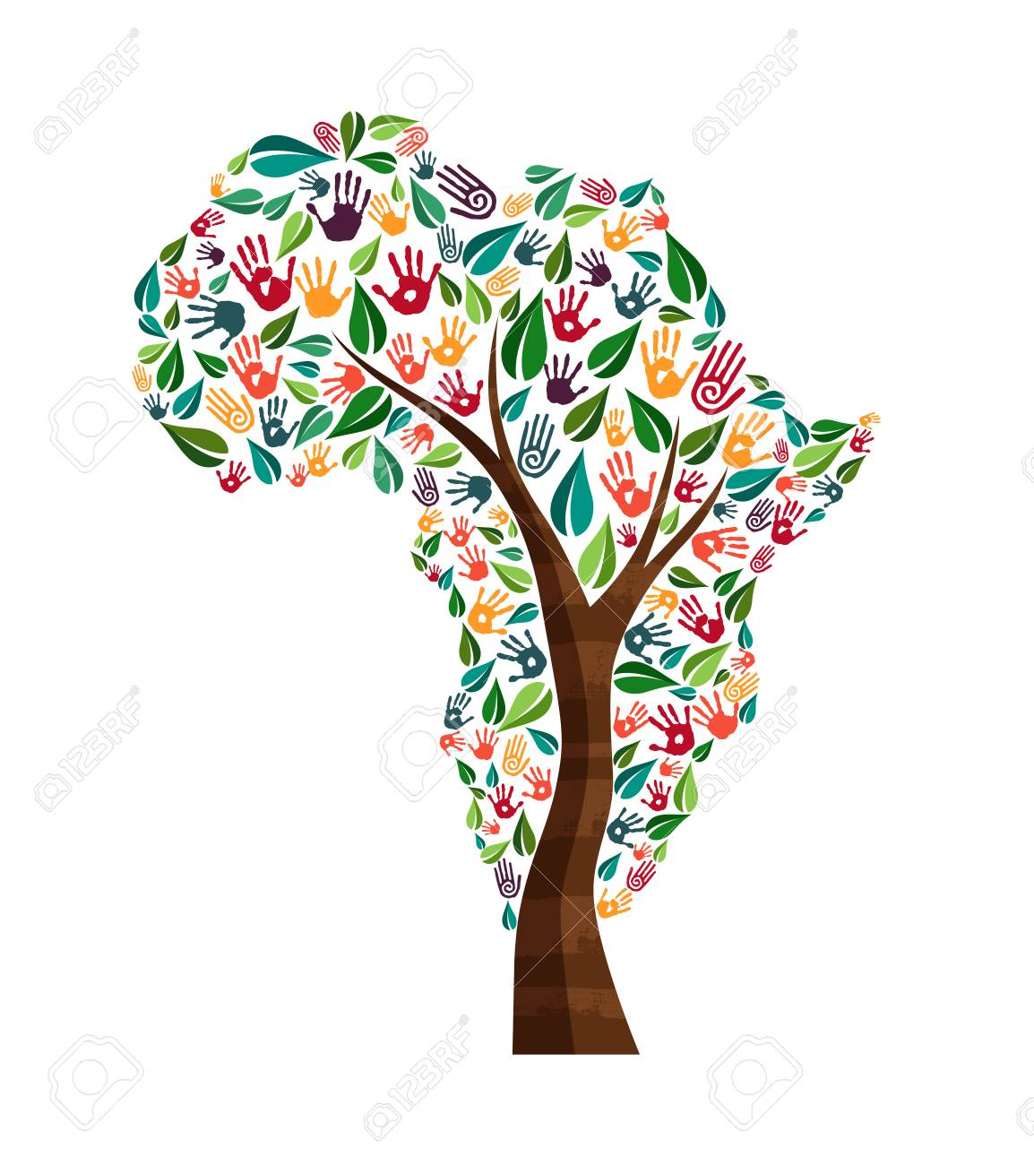 Tree with african continent shape and human hand prints. Africa world help concept illustration for charity work, nature care or social project. EPS10 vector. - 83585144