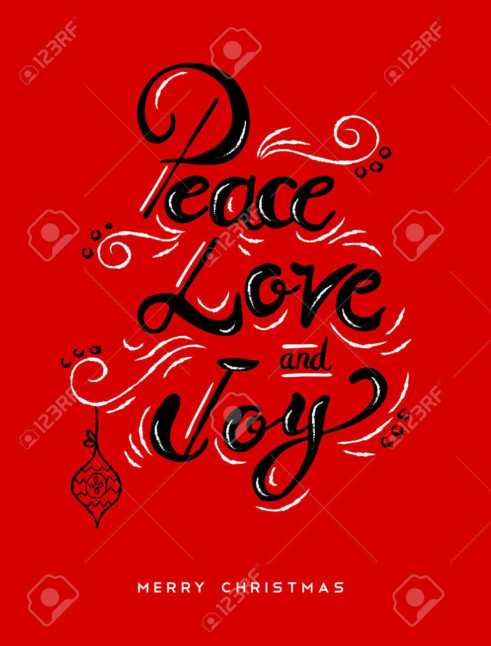 Peace Love And Joy Christmas Calligraphy Quote, Lettering Text ...