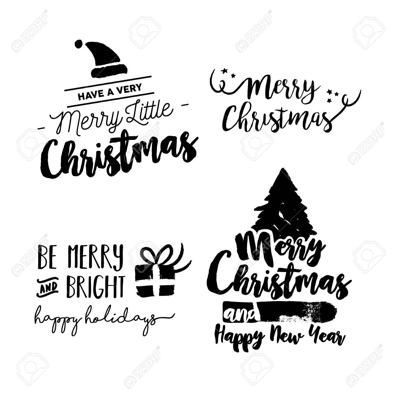Christmas Calligraphy.Merry Christmas Text Quote Set Calligraphy Lettering Design
