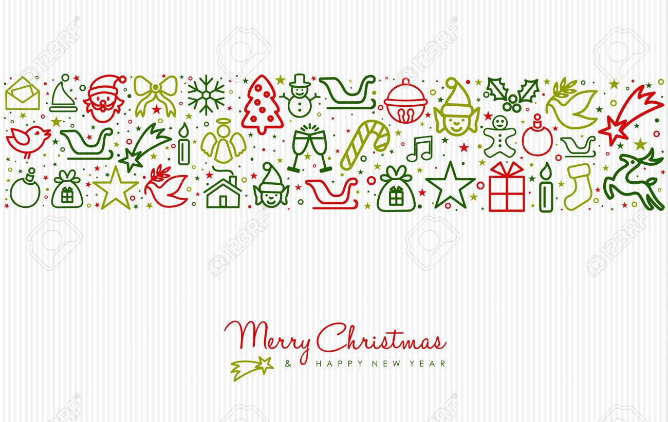 merry christmas and happy new year greeting card design with holiday line art icon pattern