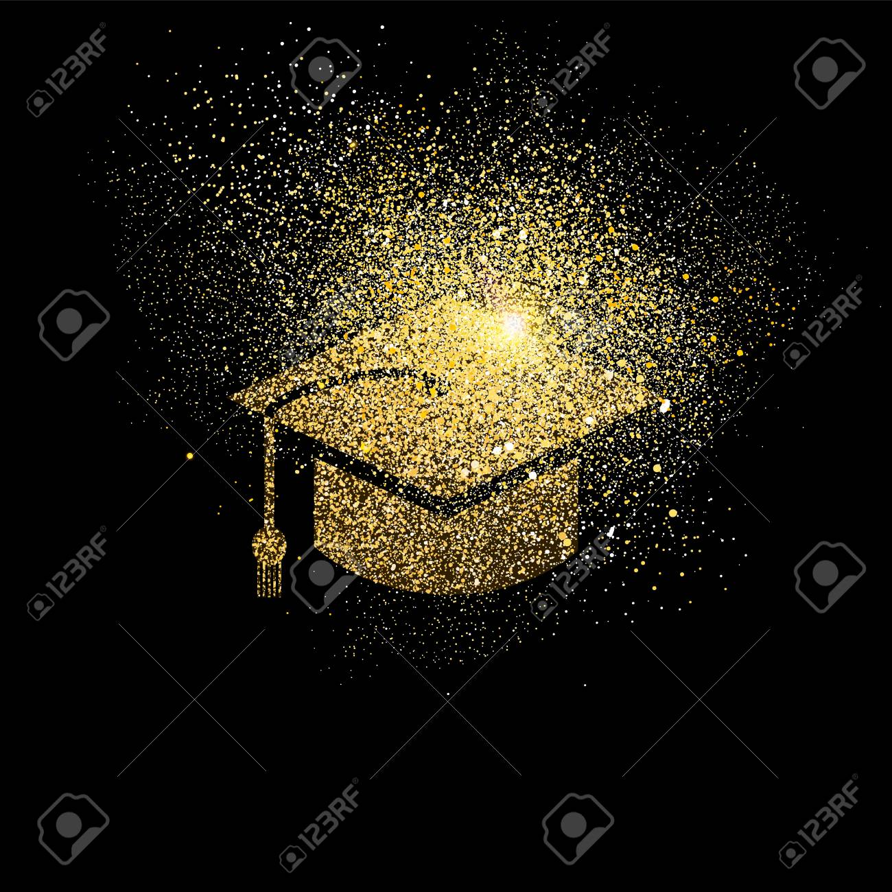 Graduation Cap Symbol Concept Illustration Gold College Student