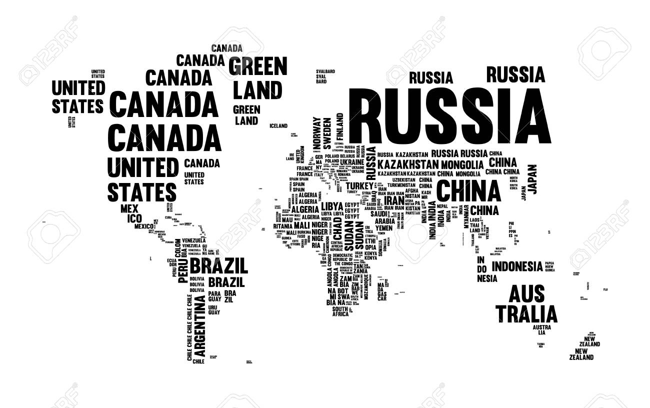 Typography World Map Made Of Every Country Name In Black And