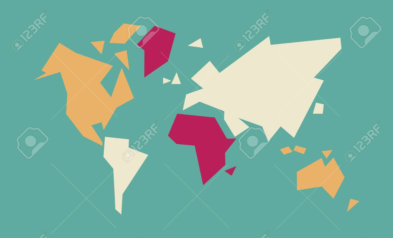 Abstract geometric world map art with colorful continent and abstract geometric world map art with colorful continent and country shapes concept global atlas illustration gumiabroncs Gallery