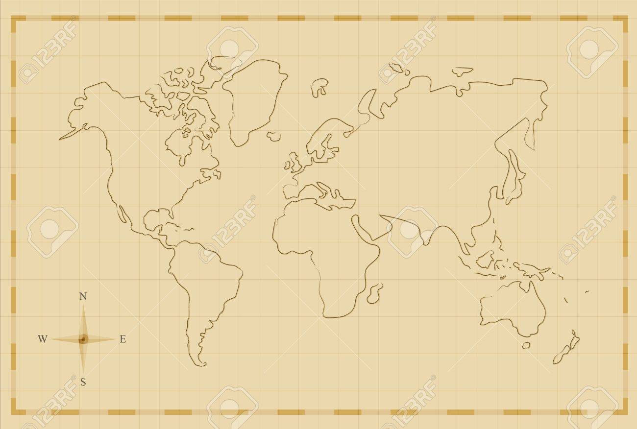 Pirate World Map.Vintage World Map Illustration Template In Old Hand Drawn Style