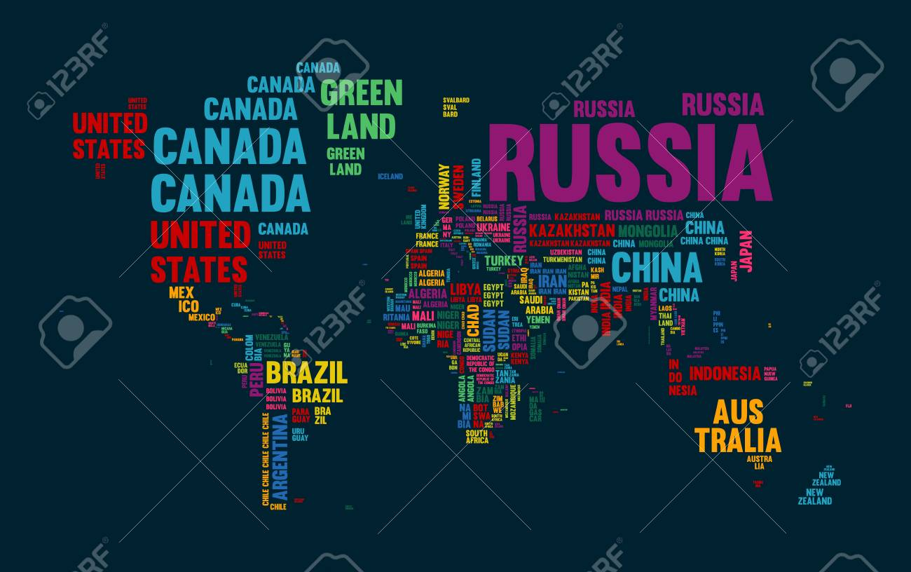 Typography color world map made of every country name concept typography color world map made of every country name concept text atlas design with continent gumiabroncs Image collections