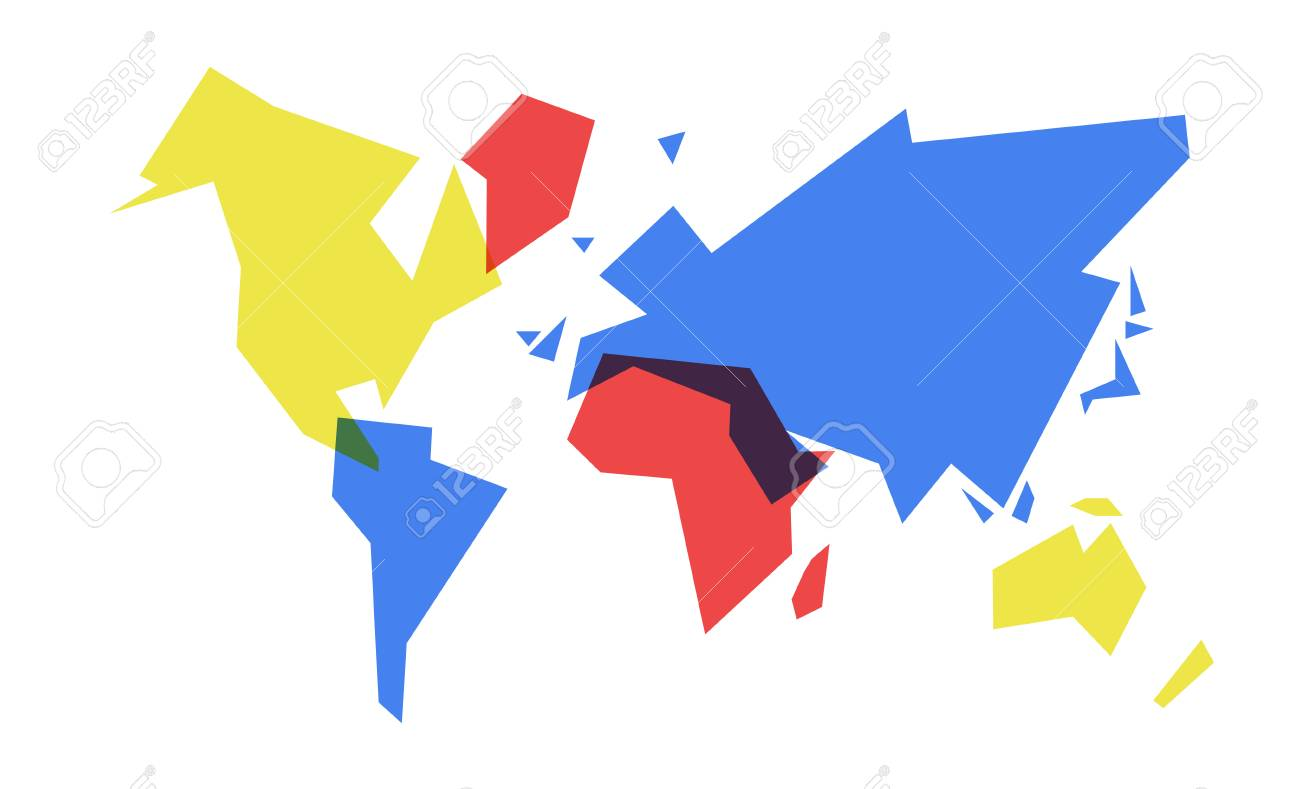 Abstract world map simple concept illustration colorful geometric abstract world map simple concept illustration colorful geometric continent shape design eps10 vector gumiabroncs Image collections