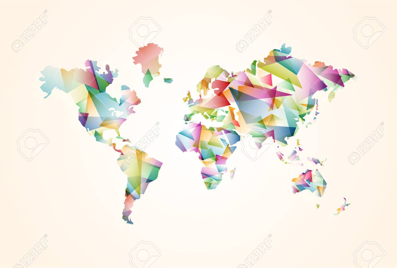 Abstract world map illustration template made of colorful abstract world map illustration template made of colorful transparent triangle shapes modern geometric planet silhouette gumiabroncs Images