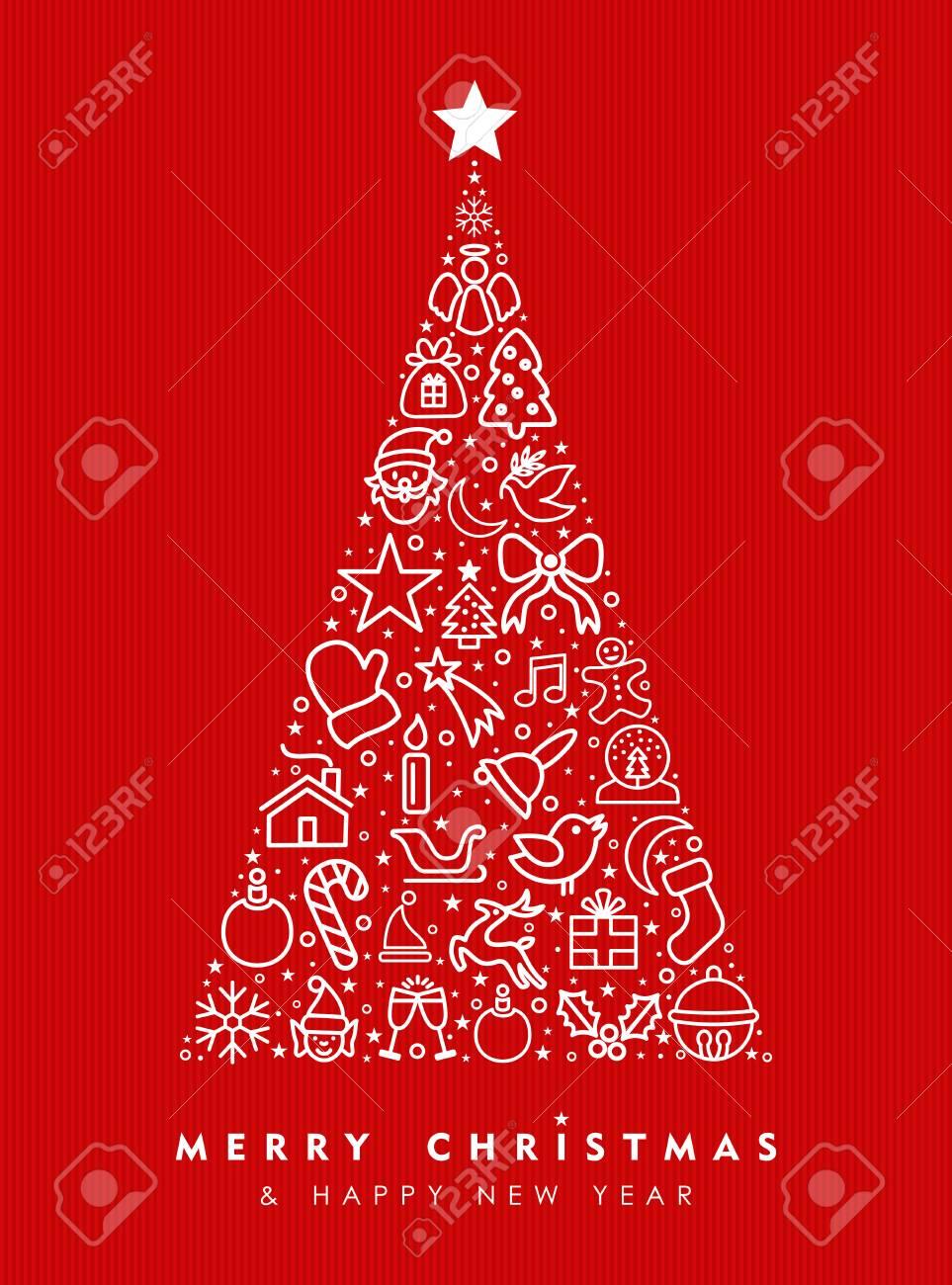 Joyeux Noël Et Bonne Année Carte De Voeux Design, Rouge Vacances