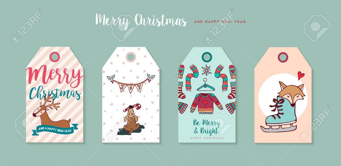 merry christmas happy new year hand drawn label tag set includes funny cartoon puppy