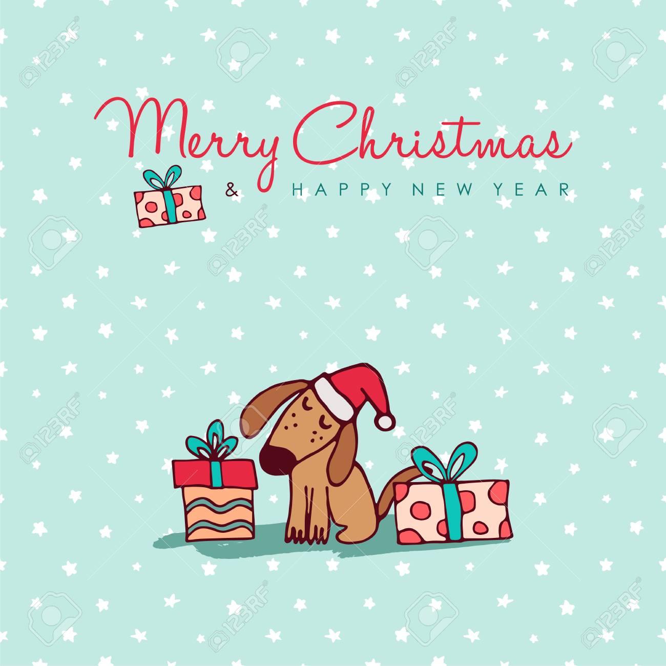 Joyeux Noël Bonne Année Dessinée à La Main Dessinée Illustration De Carte De Voeux De Chien Chiot Drôle Dans Le Chapeau De Père Noël Avec Des Boîtes
