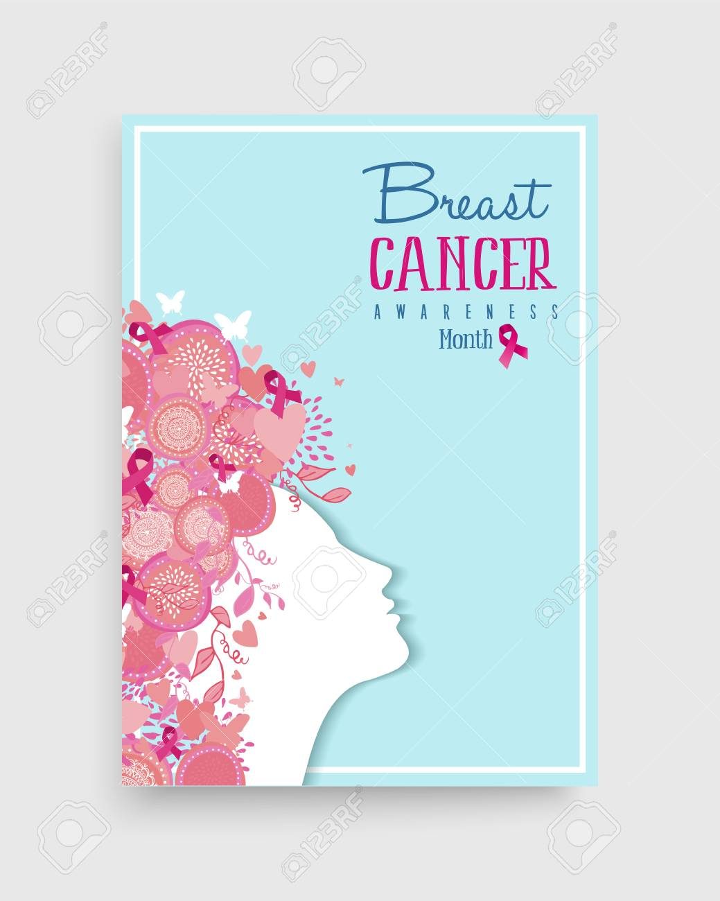 Breast cancer awareness month poster design with woman hair made of pink  ribbon nature decoration for