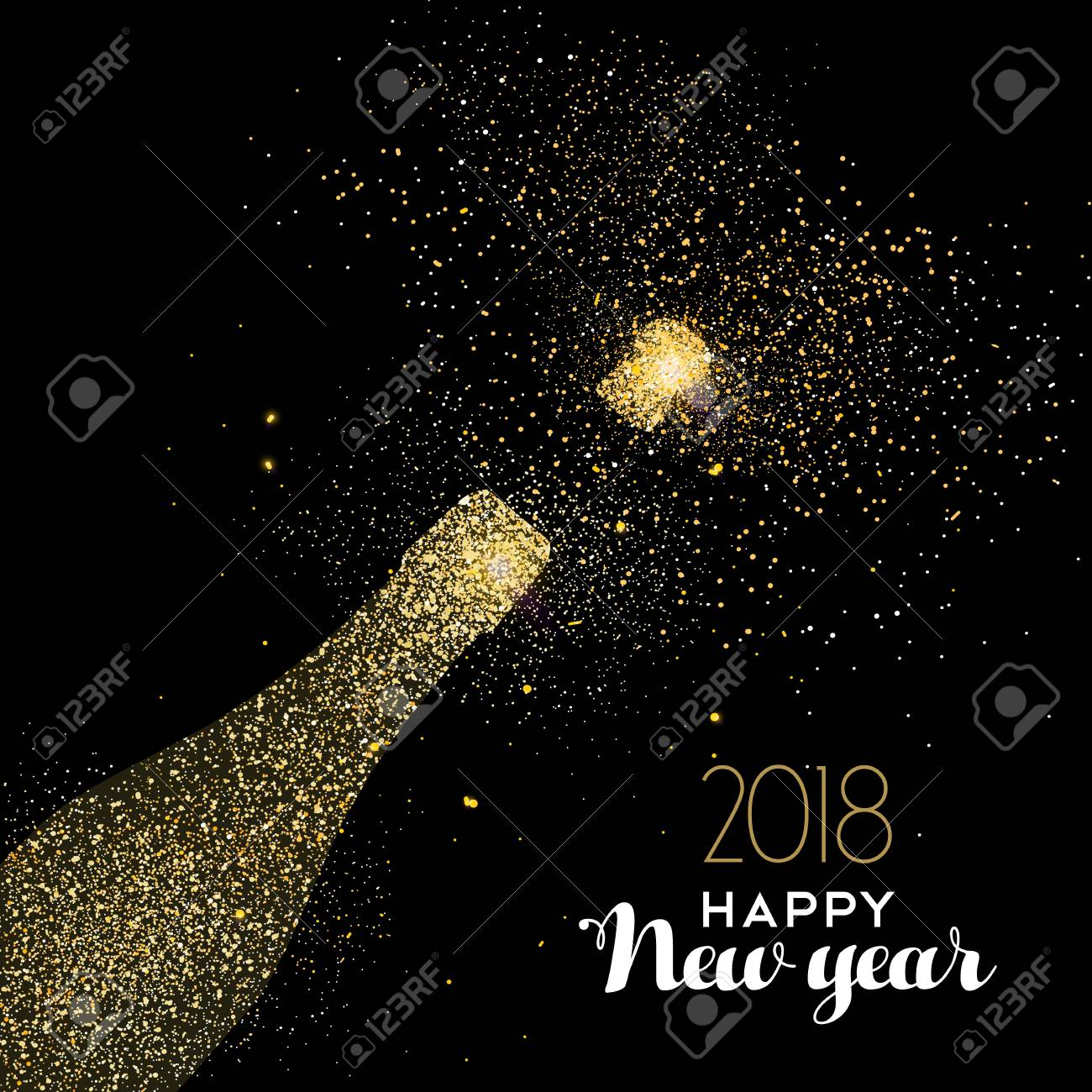 Happy new year 2018 gold champagne bottle celebration made of happy new year 2018 gold champagne bottle celebration made of realistic golden glitter dust ideal stopboris Choice Image