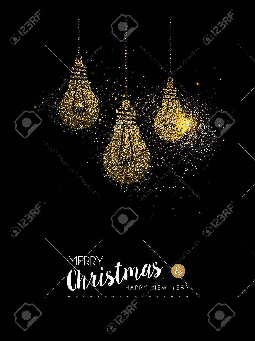 Merry Christmas And Happy New Year Luxury Greeting Card Design Gold Light Bulb Decoration Made