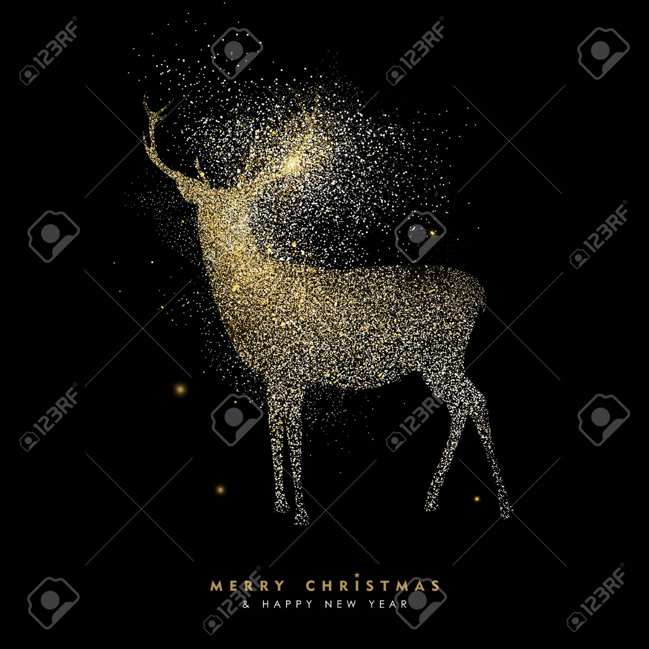 merry christmas and happy new year luxury greeting card design gold reindeer silhouette made of