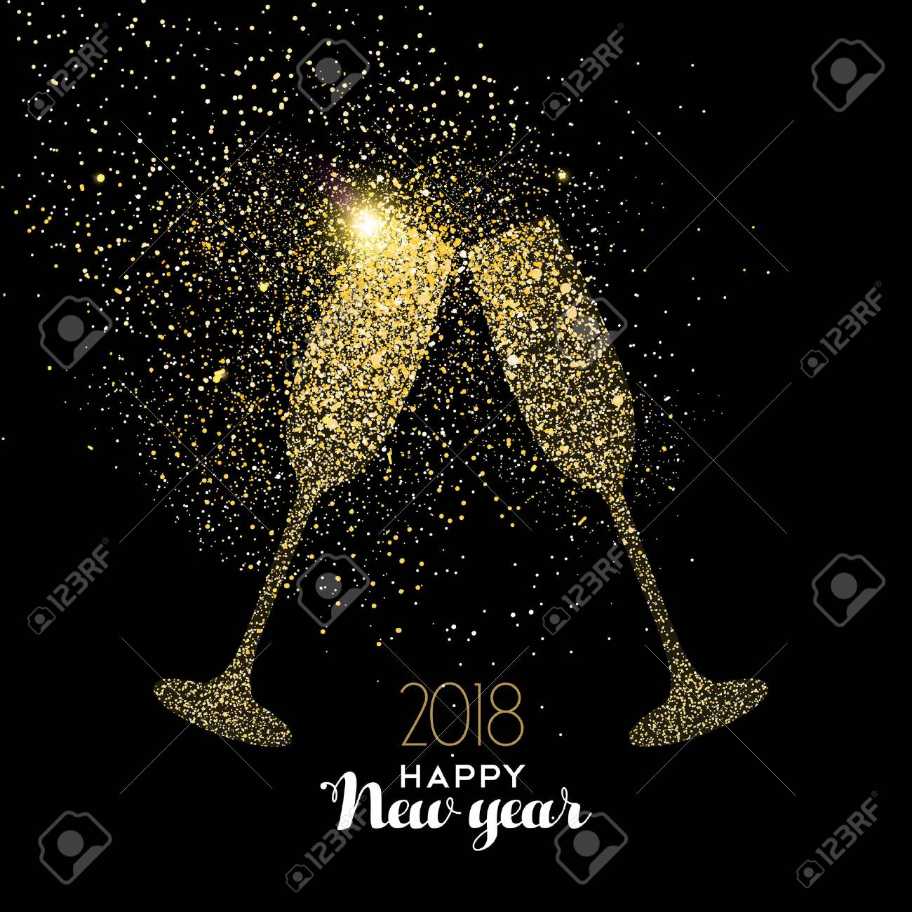happy new year 2018 gold champagne glass celebration toast made of realistic golden glitter dust