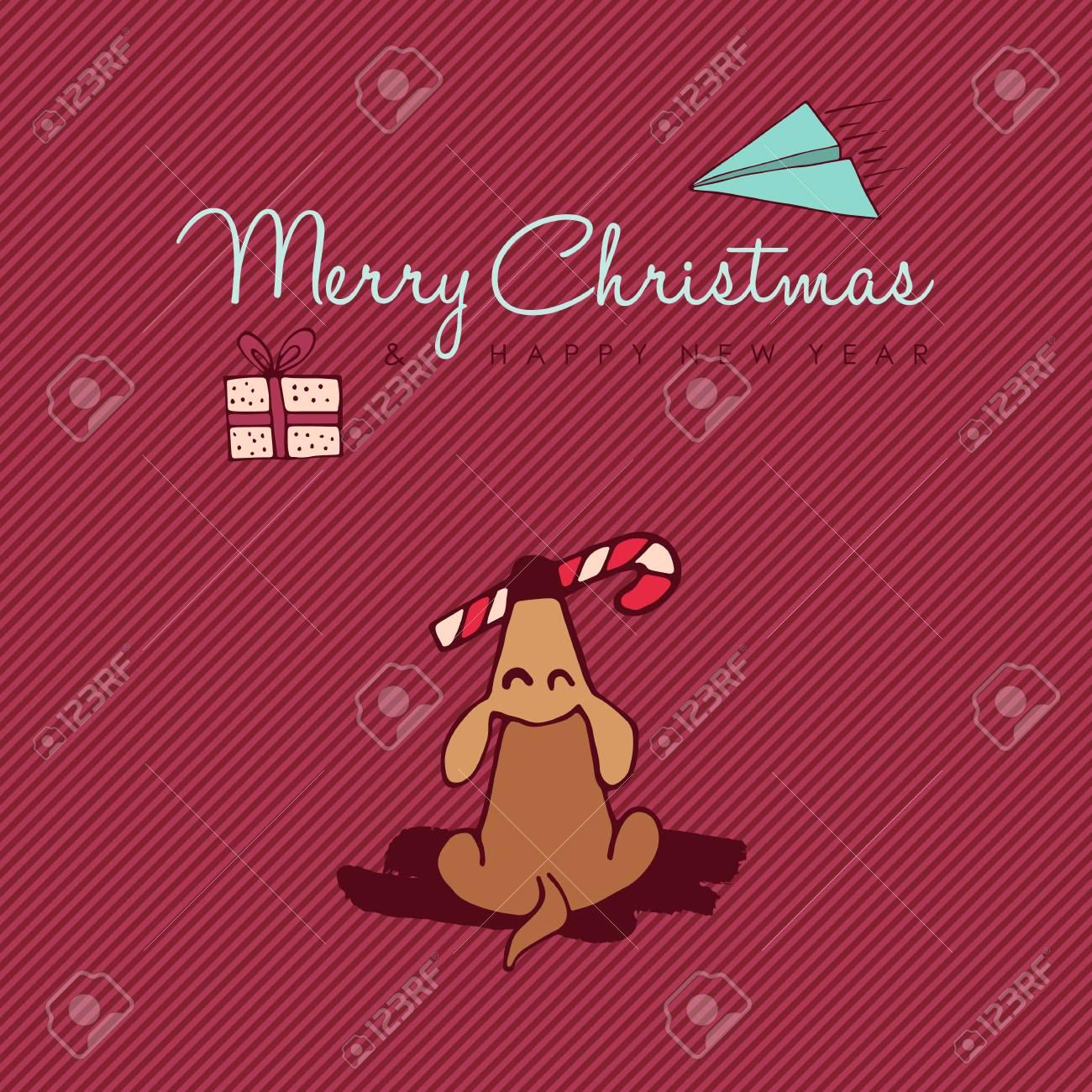 Gruß-Kartenillustration Des Frohen Weihnachten-guten Rutsch Ins Neue ...