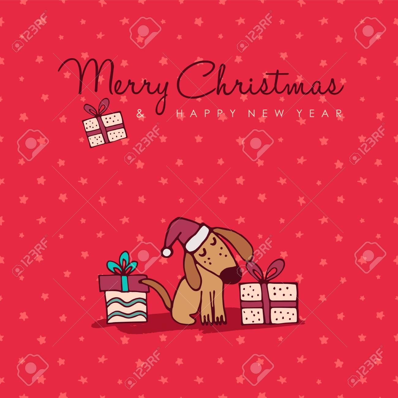 メリー クリスマス新年あけまして手書き犬グリーティング カード