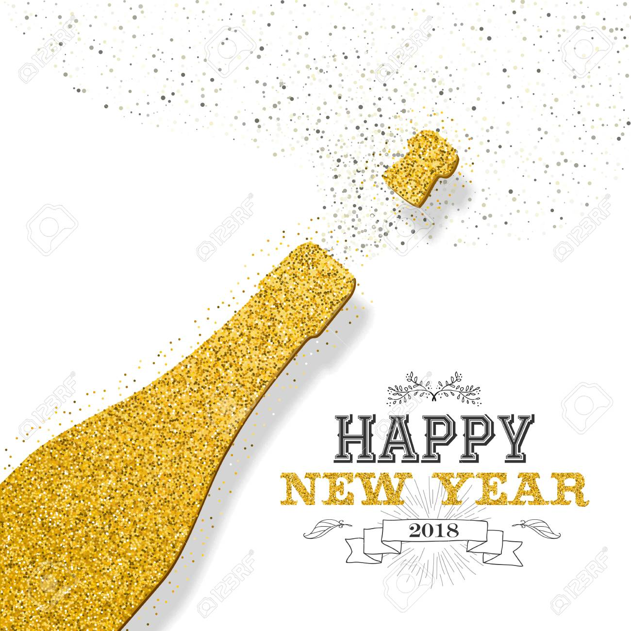 happy new year 2018 luxury gold champagne bottle made of golden glitter dust ideal for
