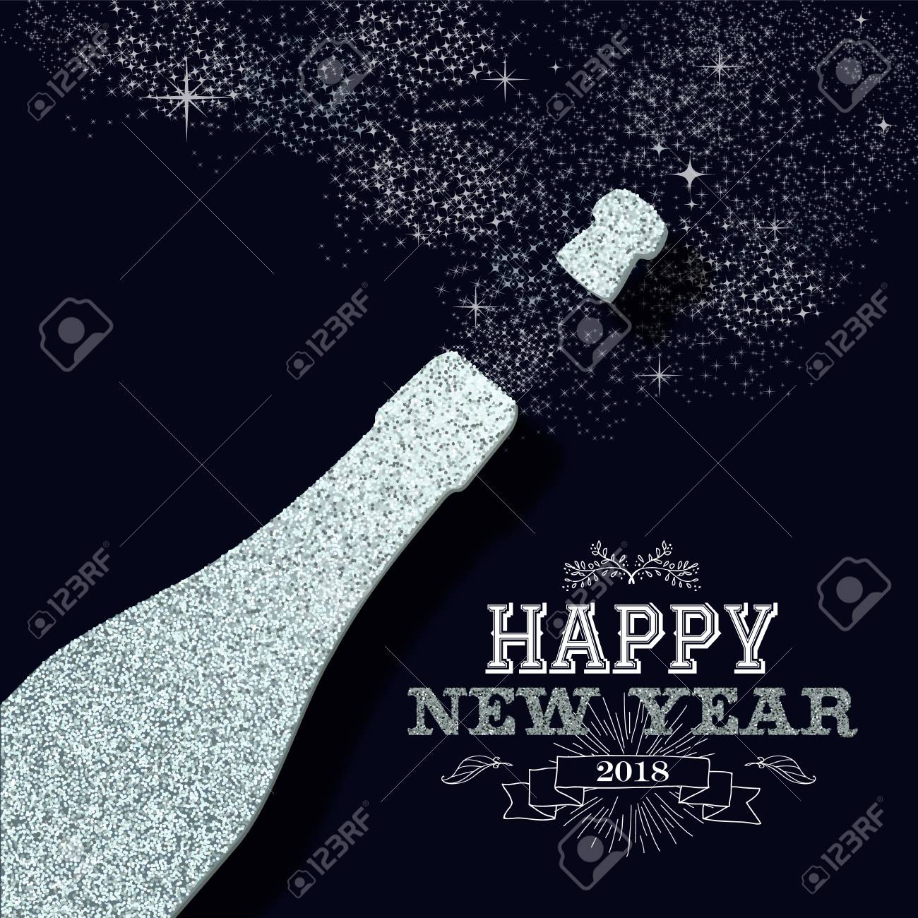 happy new year 2018 luxury champagne bottle made of silver glitter sparkle ideal for greeting