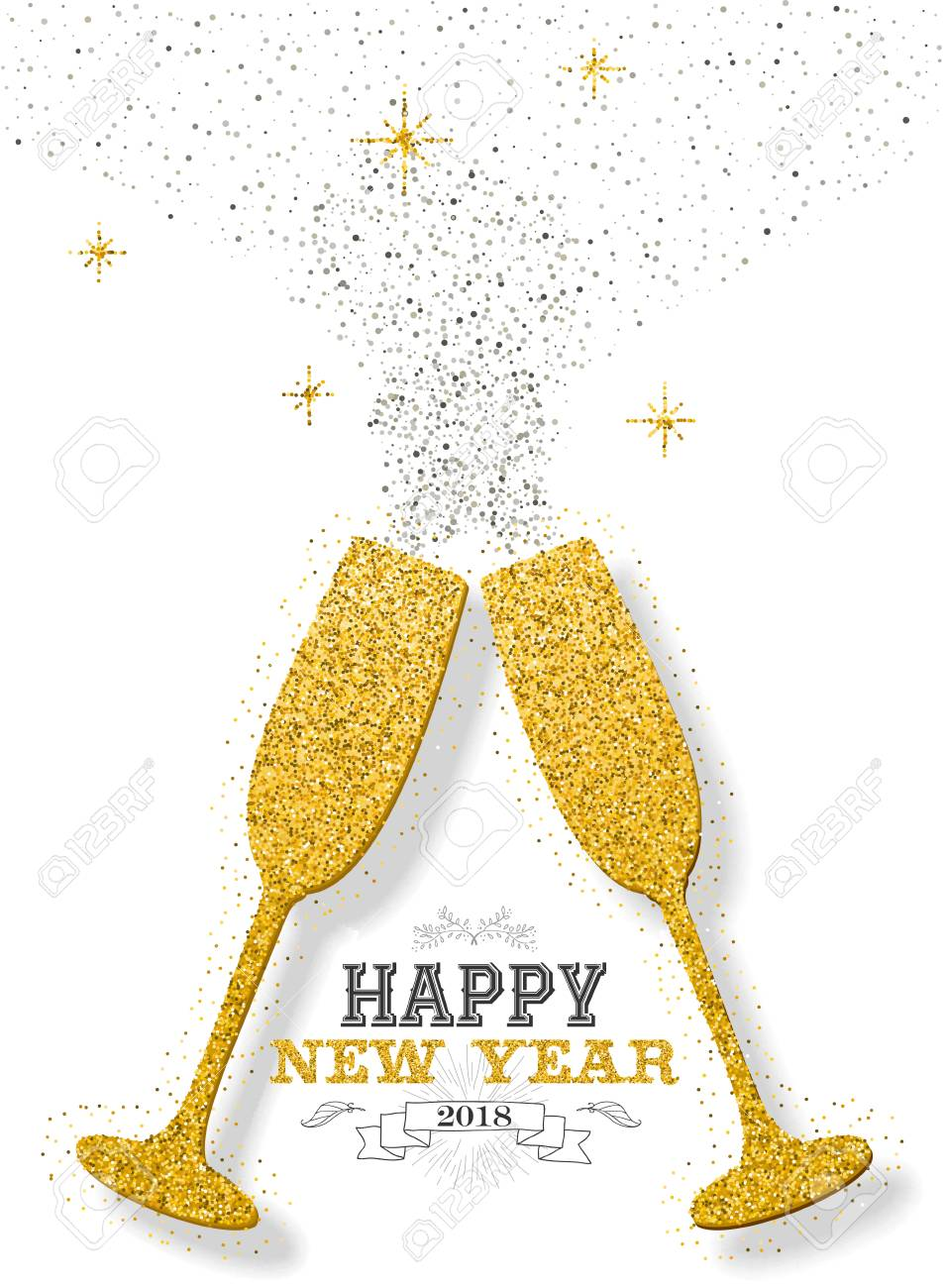 happy new year 2018 luxury gold celebration toast made of golden glitter dust ideal for