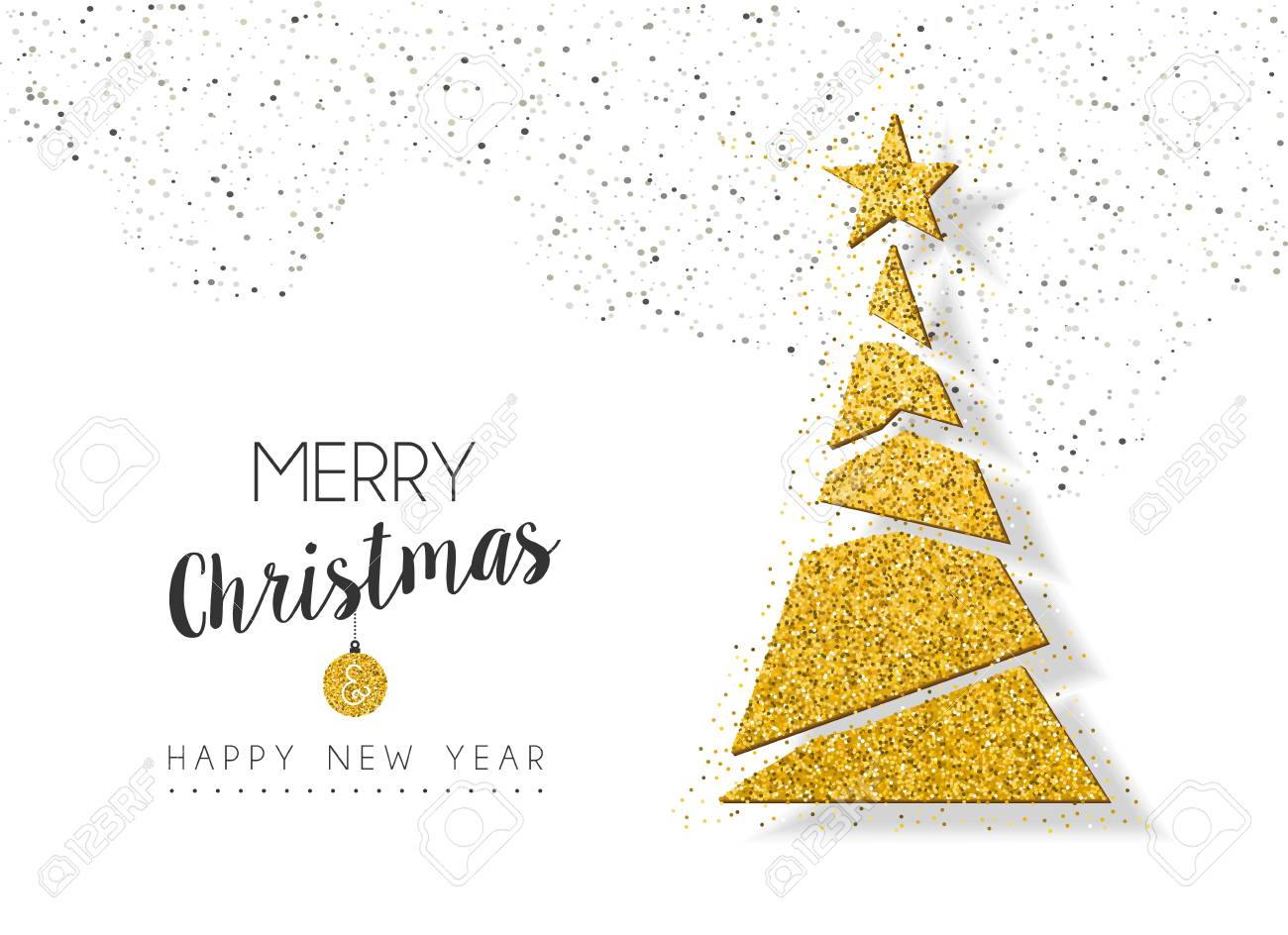 Merry Christmas and happy New Year gold xmas pine tree ornament made of golden glitter dust, holiday greeting card design. EPS10 vector. - 86133552