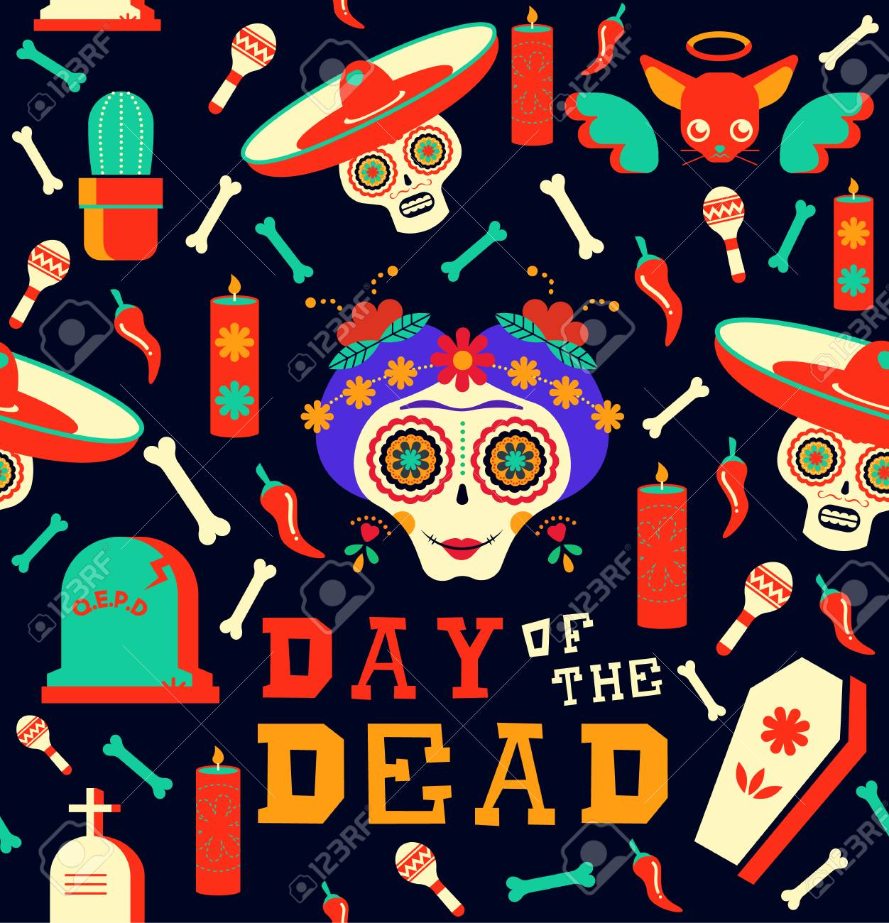 Mexican Day Of The Dead Seamless Pattern Art Happy Skull With Traditional Decoration Includes