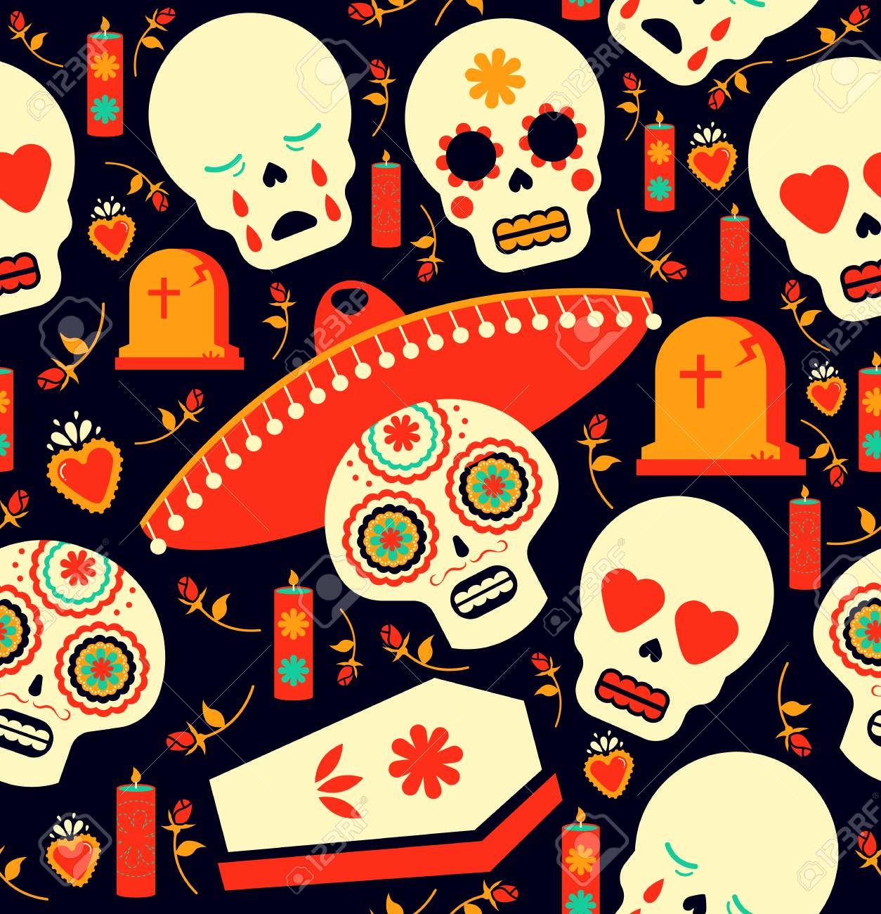 Mexican Day Of The Dead Seamless Pattern Art Skull Emoji With Traditional Decoration Mariachi