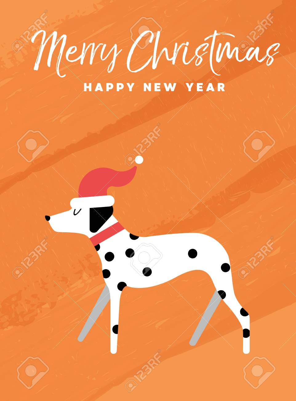 Merry christmas and happy new year holiday greeting card merry christmas and happy new year holiday greeting card illustration dalmatian dog with santa claus m4hsunfo